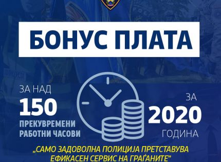 Вработените на МВР денеска ја добиваат бонус платата за над 150 часови прекувремена работа во 2020
